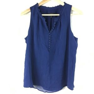 J. Crew Blue Tank Collar and Button Detail 10